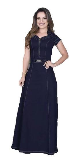 Vestido Jeans Longo Com Lycra Moda Evangélica Veste Bem