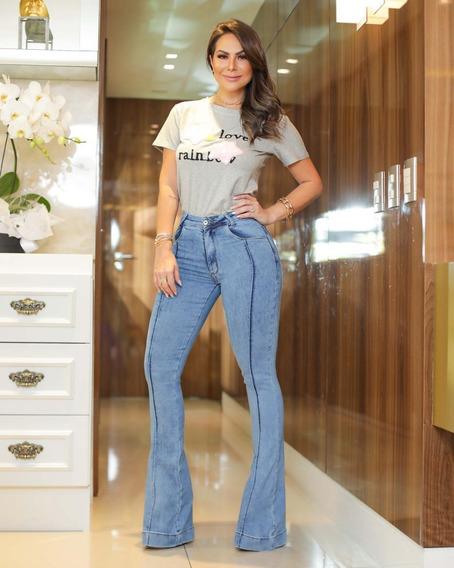 Calça Jeans Feminina Calça Cintura Alta Flare
