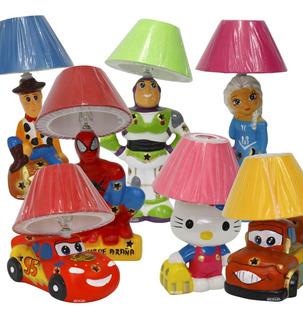 Paquete 7 Lámparas Personajes Infantiles Cerámica Decorada