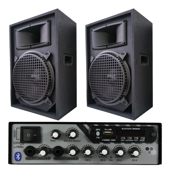 Amplificador Bluetooth Rc7000bt 500 Watts + 2 Caixa 12 Top