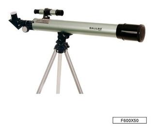 Telescopio Refractor Galileo Italy F600x50 Con Tripode 450x