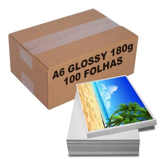 Papel Fotográfico 180g A6 10x15 Brilhante Glossy 100 Folhas