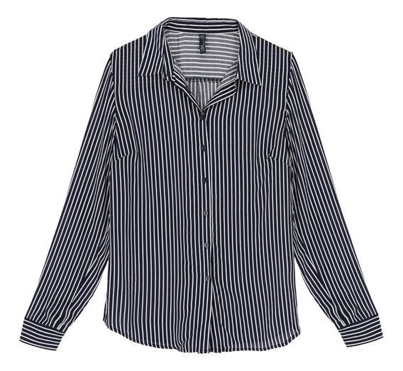 Camisa Manga Larga Basica Estampada De Mujer C&a 1048131
