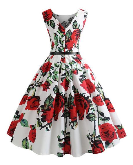 Vestido Estampado Floral Sin Mangas Con Cinturón Vintage