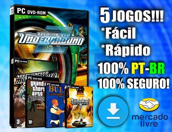 Kit 5 Jogos Para Pc Fraco - Pc - 100% Ptbr - Completos!