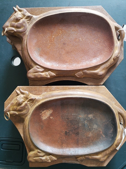 Remato 6 Comal Hierro Fundido Vaquilla Cortes Carne Vintage