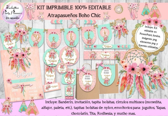 Kit Imprimible Atrapasueños Boho Chic 100% Editable