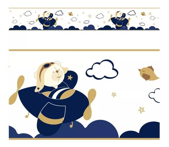 Faixa Parede Ursinho Aviador Nuvens