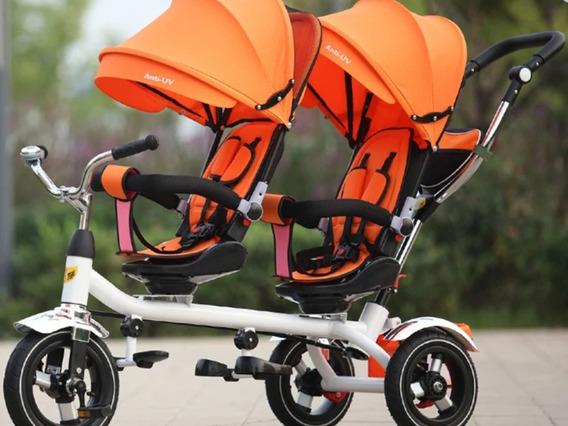 Baby Car Stroller Gêmeos Com Cobertura E Pedal Até 5 Anos