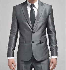 Terno Slim Masculino Brilhoso Pv - Calça+paletó+capa+barato