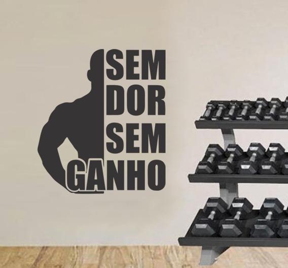 Adesivo Parede Academia Fitness Musculação Sem Dor Sem Ganho