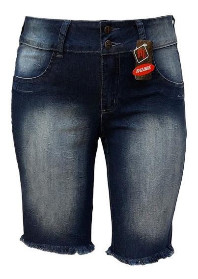 Bermuda Jeans Feminina Ciclista Barra Fio Plus Size 38 Ao 60