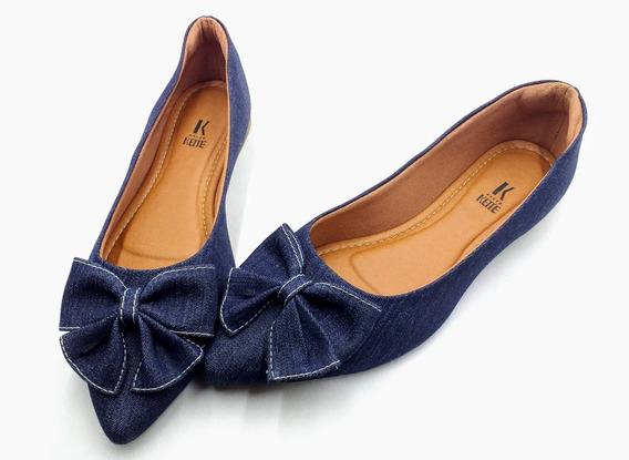 Sapatilha Confort Rasteira Bico Fino Jeans Azul Marinho Laço
