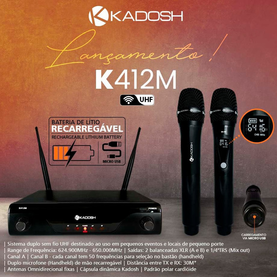 Sistema Microfone Sem Fio K-412m Uhf Duplo Vocal - Kadosh
