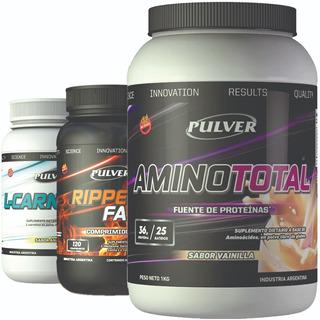 Amino Total Pulver + Carnitina + Ripped Fast Crecimiento De La Masa Muscular Definido