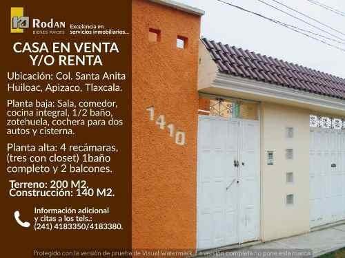 Casa Sola En Renta Santa Anita Huiloac