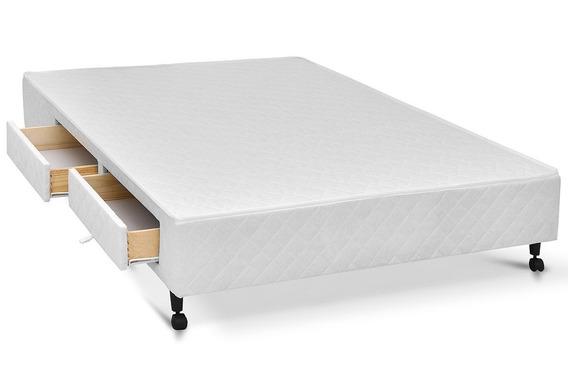 Cama Box Base Castor C/ Gavetas Tecido Branco 4 Gavqueen - 1