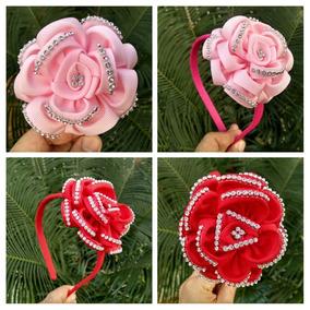 Tiaras Com Flor Vermelha Rosa 1 Par Proxixo Arts