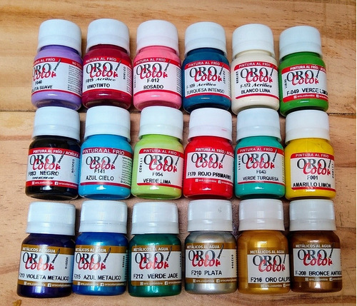 Imagen 1 de 8 de Kit 12 Pinturas Acrilicas + 6 Metálizadas Orocolor Nail Art