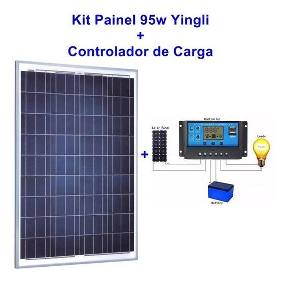 Kit Painel Solar De 95w Yingli + Controlador De Carga Solar