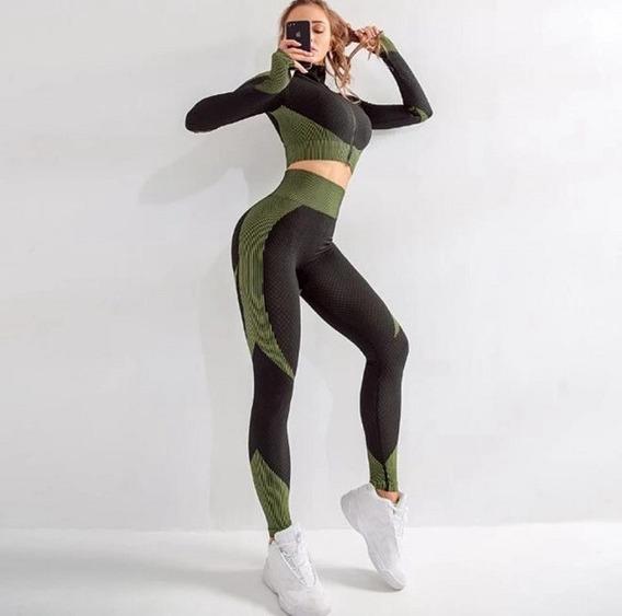 Conjunto Deportivo Anti Celulitis Gym Crossfit Pilates 2 Pzs