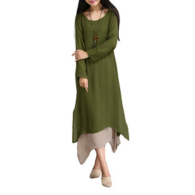 Women Vintage Dress Contrast Double Layer Casual Loose Boho