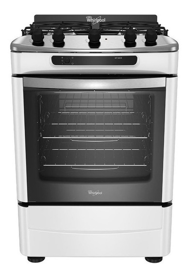 Cocina Whirlpool WF160XB 4 multigas blanca 220V puerta visor 75.9L