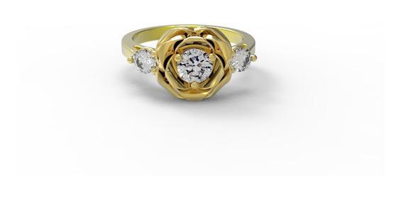 Anillo De Compromiso Flor Con Swarovski Y Oro Amarillo 10k