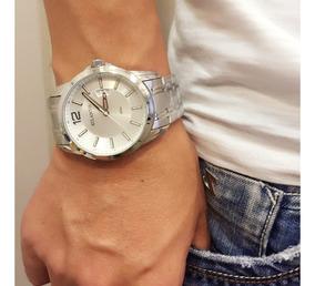 Relógio Masculino Atlantis Original Prata Dourado Pulso