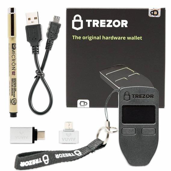 Vuviv Trezor (black) Bitcoin Hardware Wallet Bundle With Mic