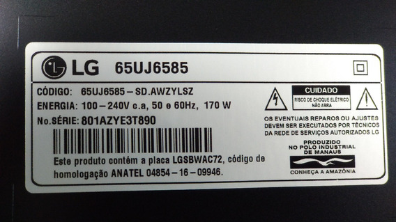 Placa Tcom Tv Lg 65 Smart 65uj6585