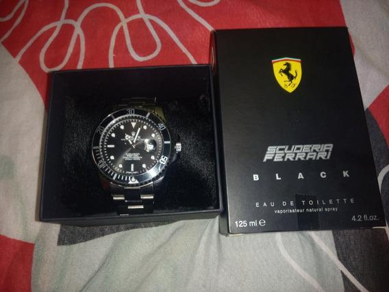 Kit Relógio Rolex E Perfume Ferrari Black