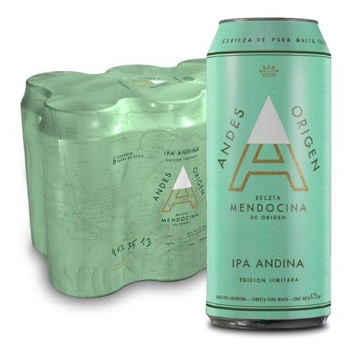 Imagen 1 de 1 de Cerveza Andes Origen Ipa 473ml Pack X6 Latas