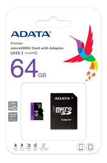 Memoria Micro Sd 64gb Adata Clase 10 Video Full Hd Celulares
