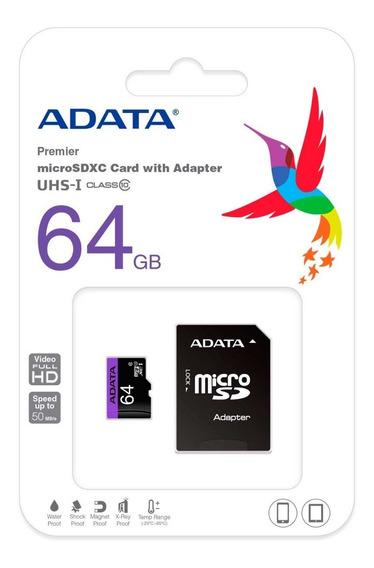 Memoria Micro Sd 64gb Adata Clase10 Full Hd Ausdx64guicl1 /v