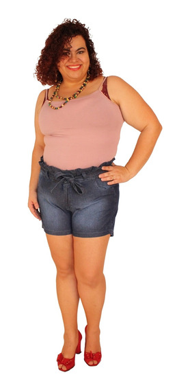 Shorts Clochard Janie Jeans Lavagem Stone Plus Size 44 Ao 56
