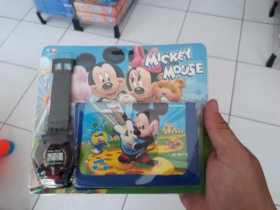Kit Relógio C/ Carteira Relâmpago Mickey Mouse Infantil