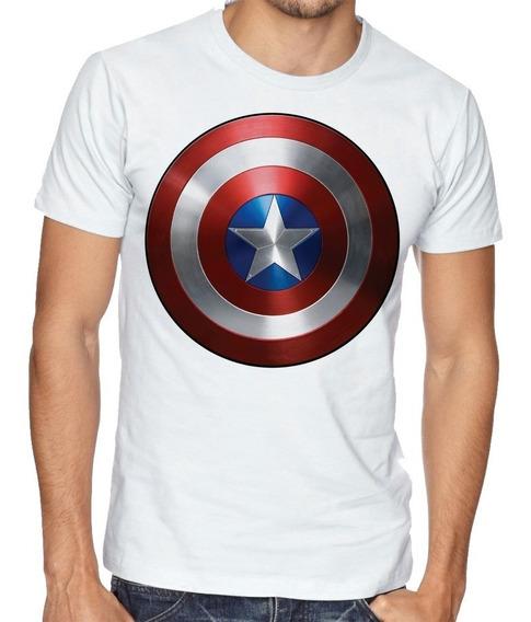 Camiseta Camisa Blusa Tamanho Capitão América Marvel Escudo