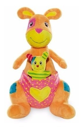 Canguru Com Filhote Bicho Pelúcia Buba Toys Brinquedo