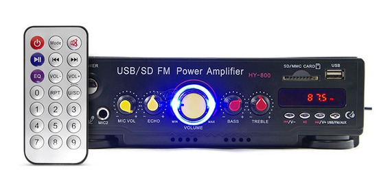 Amplificador Áudio Receiver Som Ambiente Fm Aux P2 Potente