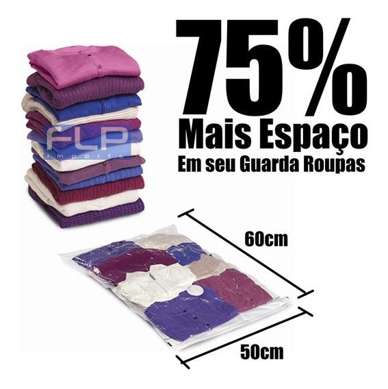 Saco À Vácuo P/ Guarda Roupas Cobertor Malas Viagem 50 X 60