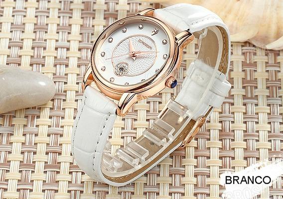Relógio Feminino Importado Elegante Casual Couro Branco