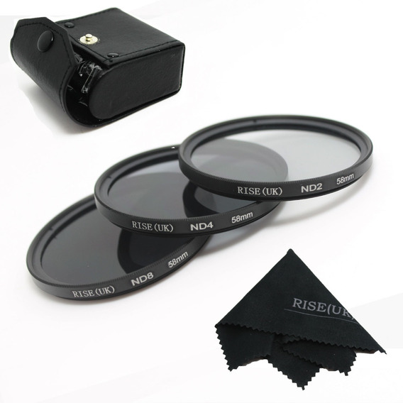 58mm Kit De Filtro Nd2 + Nd4 + Nd8 + Case Canon Nikon Sony