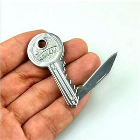 Mini Canivete Faca Dobrável Formato De Chave Camping 10 Cm