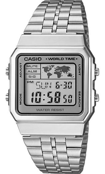 Relógio Casio Digital Prata A500wa-7df Unissex Retro - Medio