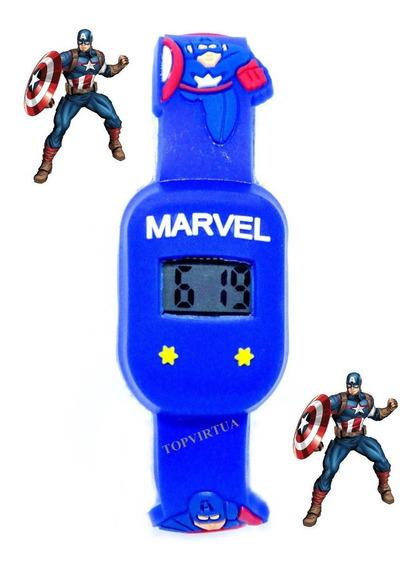 Relógio Capitão América Quadrado Infantil Digital Azul 3d