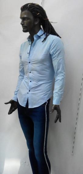 Camisa A Cuadros Azul Claro