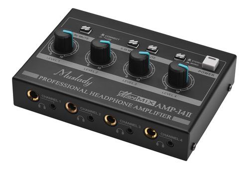 Muslady Amp-14 - Amplificador Para Auriculares (4 Canales, E