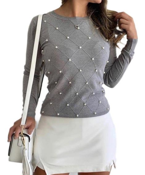 Blusa De Frio Feminino Tricô Pérolas Moda Inverno Importado