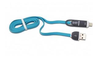 Cable 2 En 1 Micro Usb/lightning Ghia 1.0 Mts Usb 2.1 Azul/g